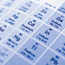 Periodic table of elements close up